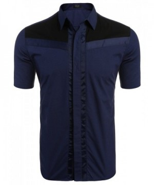 COOFANDY Sleeve Contrast Casual ST2 Navy