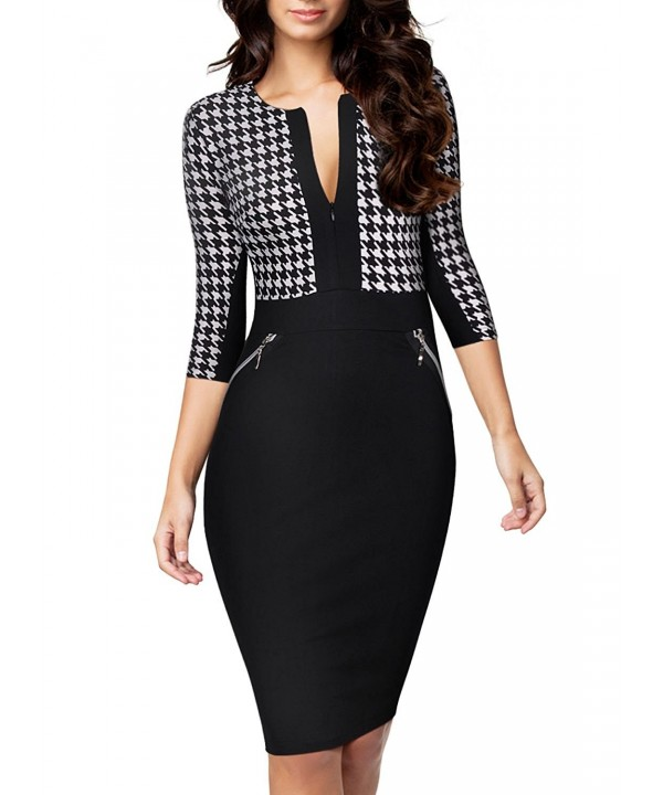 Miusol Houndstooth Print Optical Illusion Business