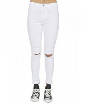 Vibrant Waisted Solid Jeans White