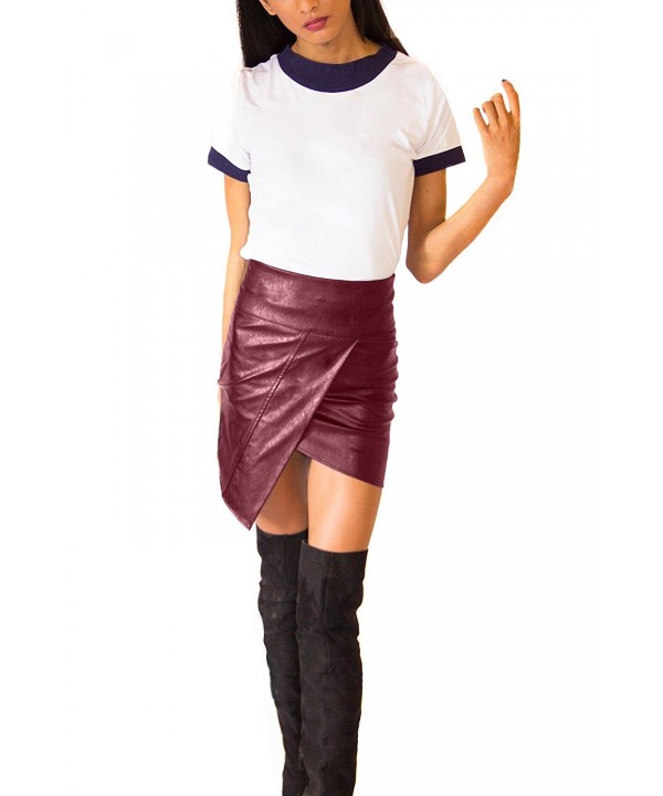 humel Leather Asymmetrical Miniskirt Burgundy