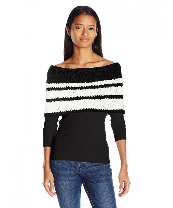 XOXO Striped Shoulder Popcorn Pullover