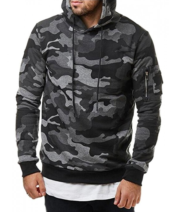 Stylish Hooded Sweatshirt Camouflage Pattern
