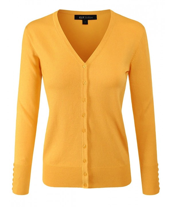 ELF FASHION Sweater Cardigan MUSTARD