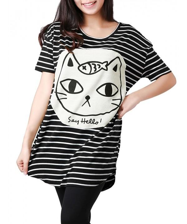 Allegra Striped Batwing Oversize T shirts