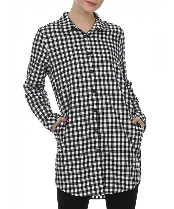 fd91e30f362 Women s Plaid Button Casual Flannel Shirt Dress Long Sleeve With ...