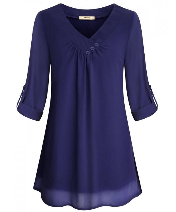 Miusey Blouses Neckline Embellished Clothing