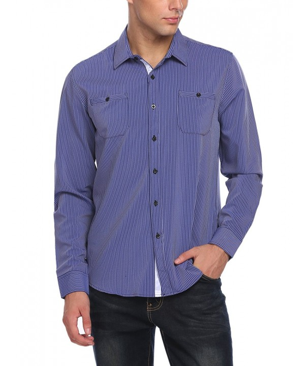 Jinidu Slim Fit Long Sleeve Striped Oxford