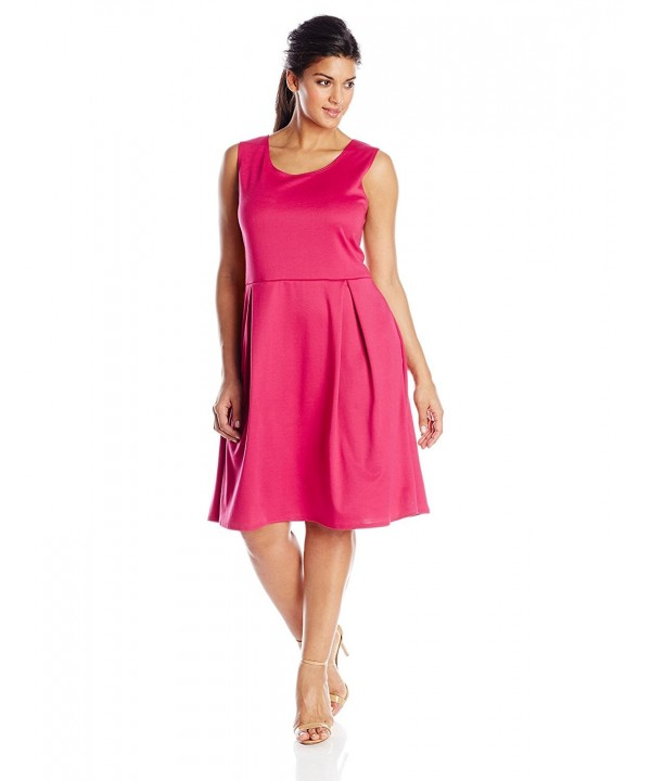 Women\'s Plus-Size Sleeveless Box-Pleat Dress - Fuchsia - CC11TKU9QRL
