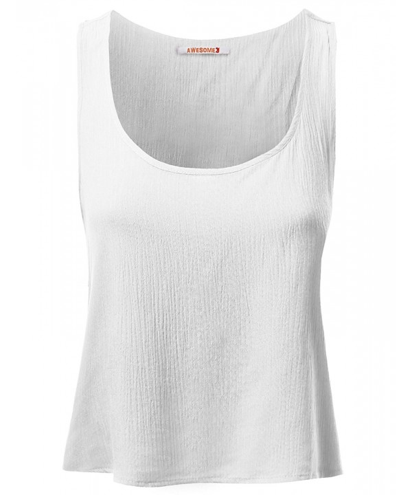 a0f7cb4a5cd023 ... Women s Casual Cute Tank Top Sleeveless T-Shirts - Awttk0260 White -  CS121UYURNV. On sale! New. Basic Gauze Sleeveless Tank White