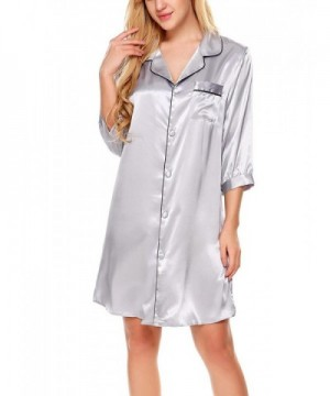 Skylin Womens Sleepshirt Button Front Nightshirts