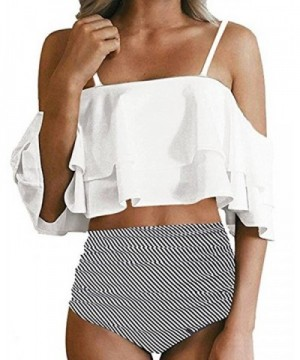 Shoulder Ruffled Flounce Swimsuits Waisted
