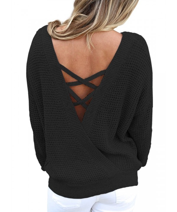 4b2718cdd0450 Women Loose Round Neck V Criss Cross Backless Long Sleeve Knit ...