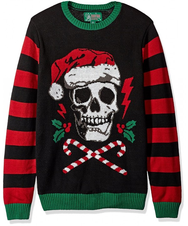 Ugly Christmas Sweater Men\'s Light-up-Santa Scull Sweater - Black -  C91864WLZ52