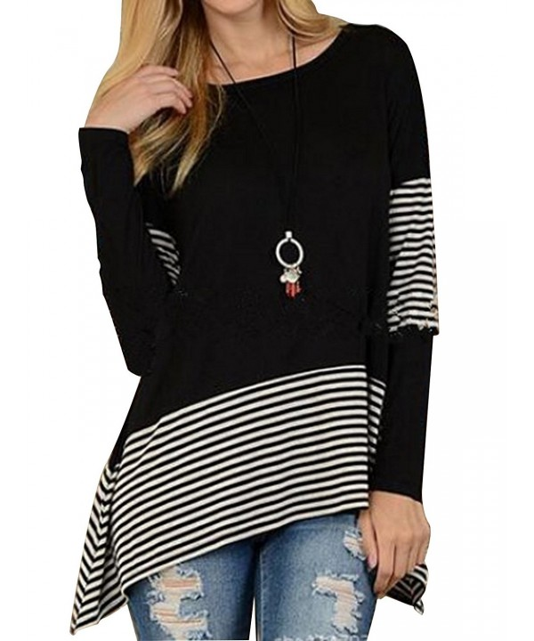 MISSLOOK Womens Stripes Asymmetrical Loose