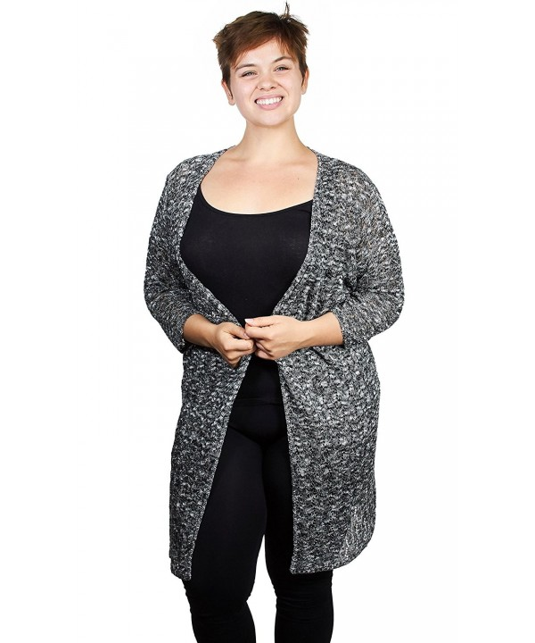 2963db56e Womens Ladies Marled Pointelle Open Front Long Cardigan Sweater (See ...