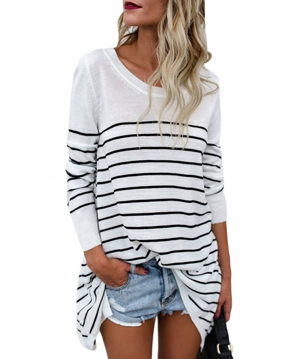 LOSRLY Striped Sweater Pullover Tops White