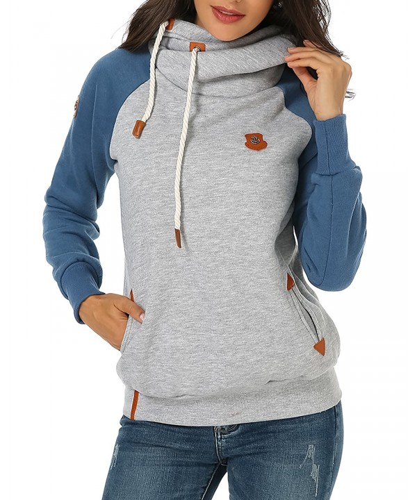 66e0f72edc3f Womens Hoodie Cowl Neck Sweatshirt Long Sleeve Pullover Hooded ...