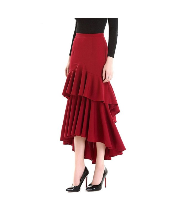 AOMEI Womens Pleated Ankle Length Ruffles