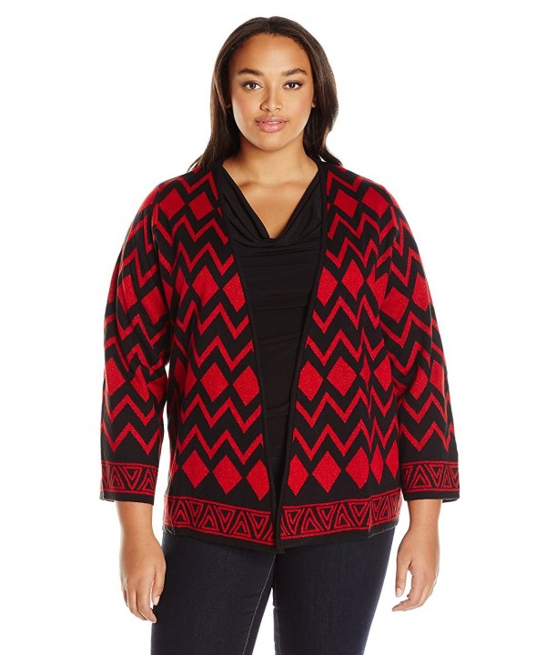 Alfred Dunner Printed Cardigan Sweater