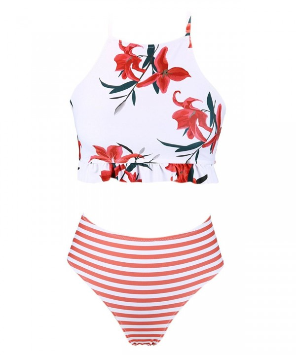 SEARTIST Floral Striped Waisted Swimsuit