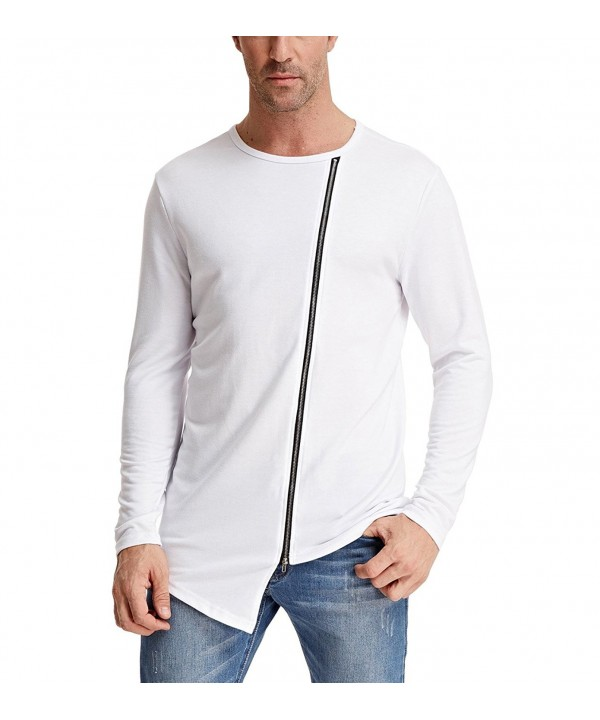 Zipper Front Irregular Sleeve T Shirts