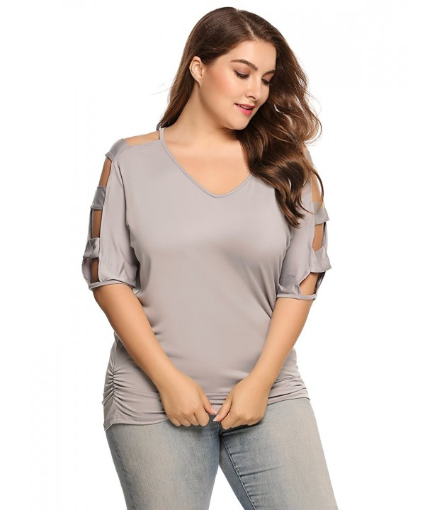 Sleeve Shirts Shoulder Blouses 01Gray