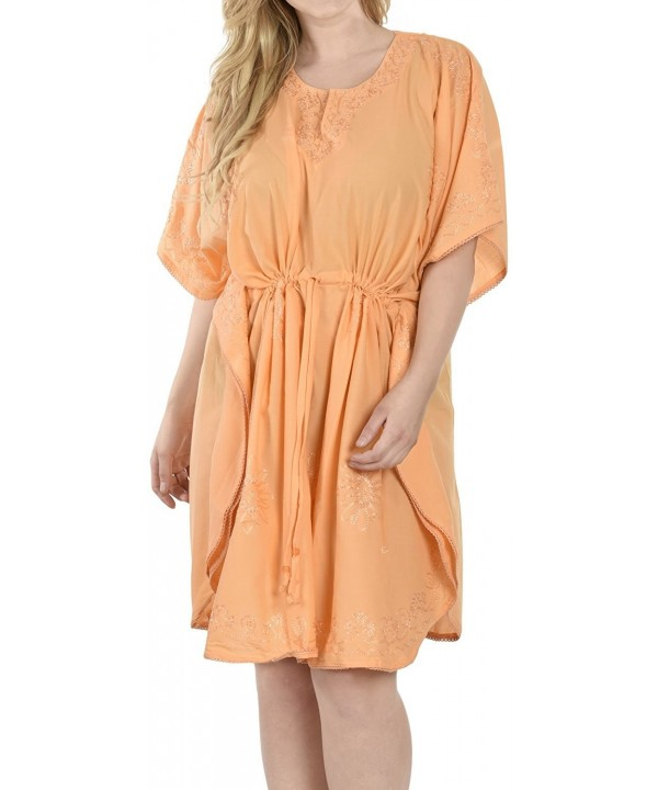 Womens Embroidered Swimwear Caftan Orange