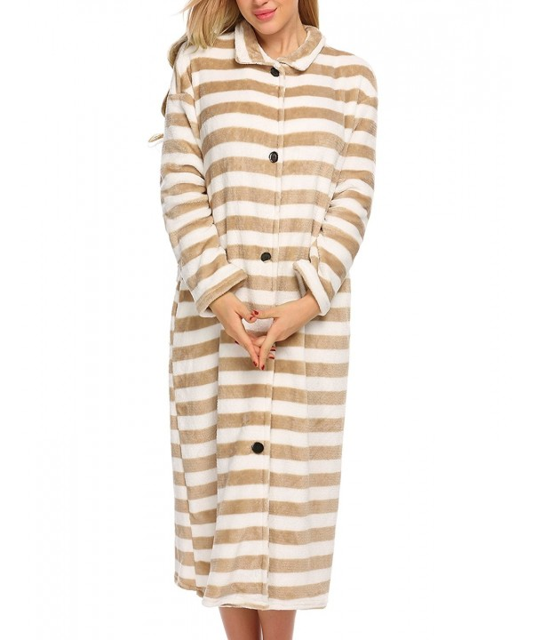 Ekouaer Flannel Bathrobe Loungewear Sleepwear