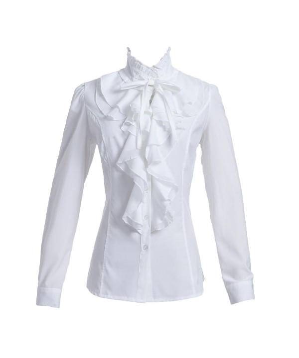 Taiduosheng Shirts Ruffle Stand Up Collar