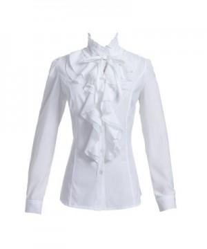 Taiduosheng Shirts Ruffle Stand Up Collar