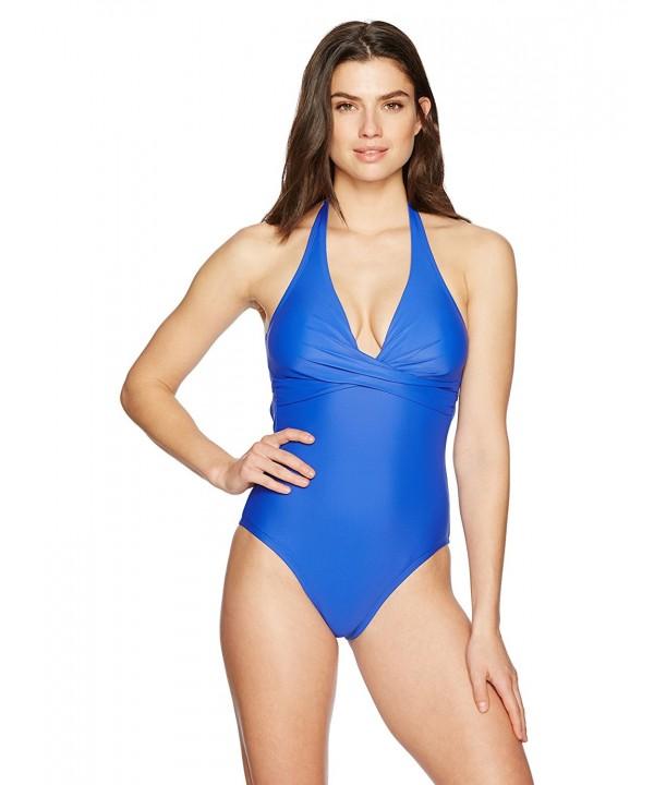 152e4aa232924 Women's Swimwear Wrap Halter One Piece Swimsuit - Blue Antony ...