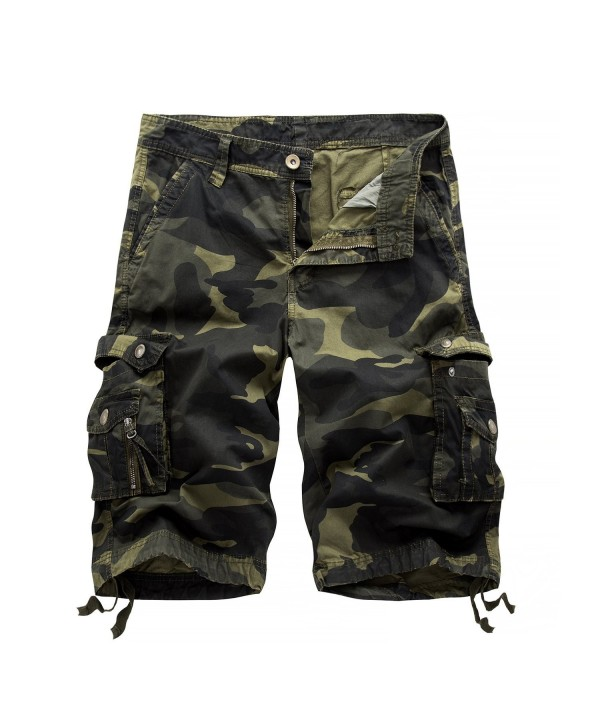 Hakjay MensSummer Multi Pocket Shorts Dark camouflage 30