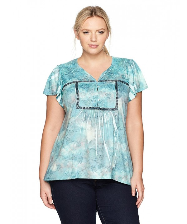 4f923224cffc86 ... Women's Plus Size Short Sleeve Tie Dye Henely Top - Cloud Bayou-  Papyrus - CE1848G7GYN. On sale! New. OneWorld Womens Sleeve Henely Bayou  Papyrus