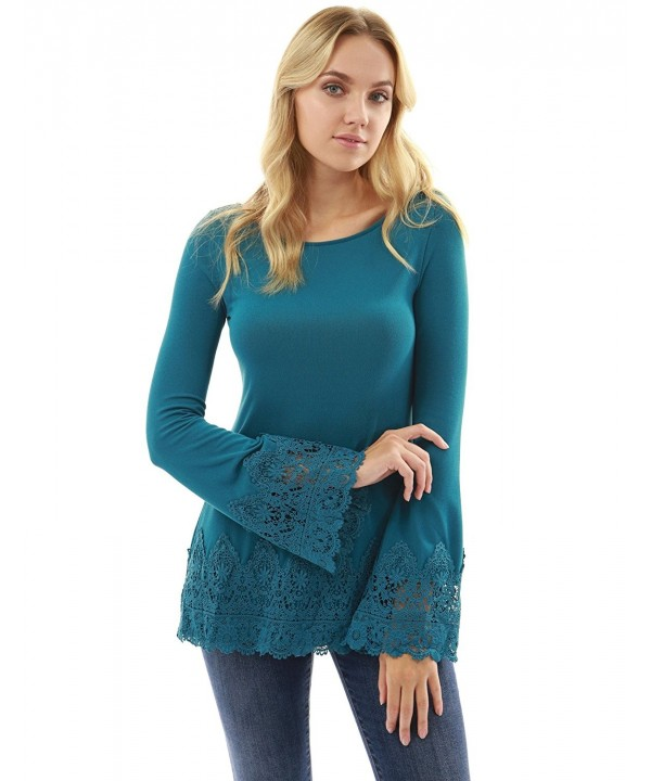 PattyBoutik Womens Crochet Inset Sleeve