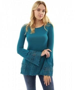PattyBoutik Womens Crochet Inset Sleeve