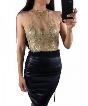 Glamaker Womens Halter Sequins Backless