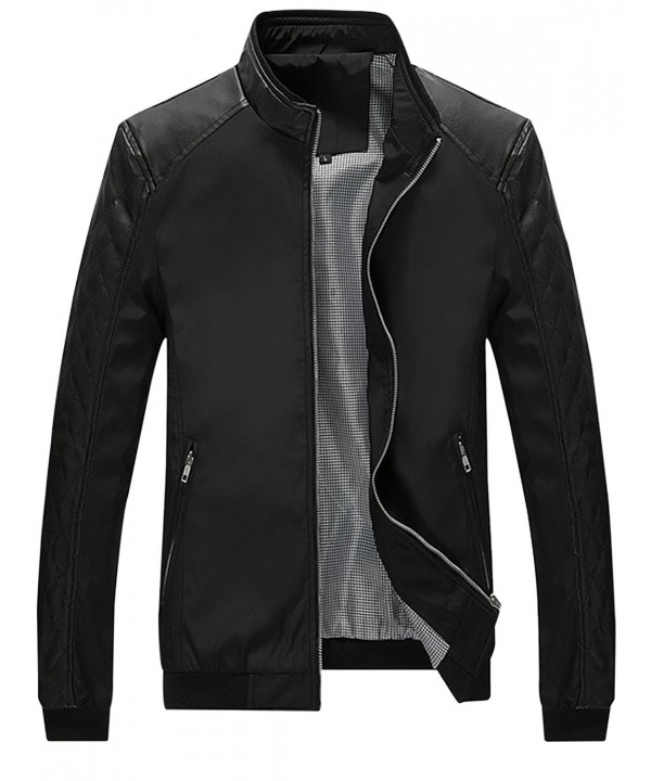 Springrain Casual Leather Sleeve Bomber
