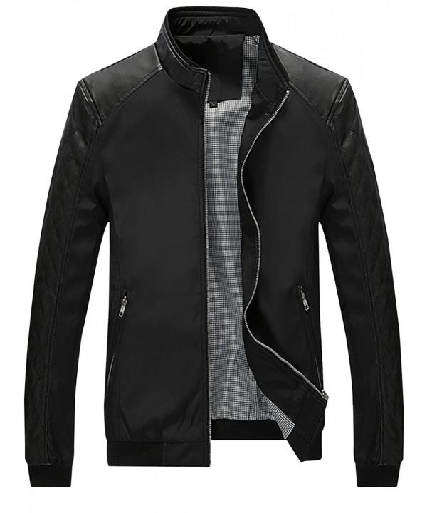 Springrain Casual Leather Sleeve Bomber