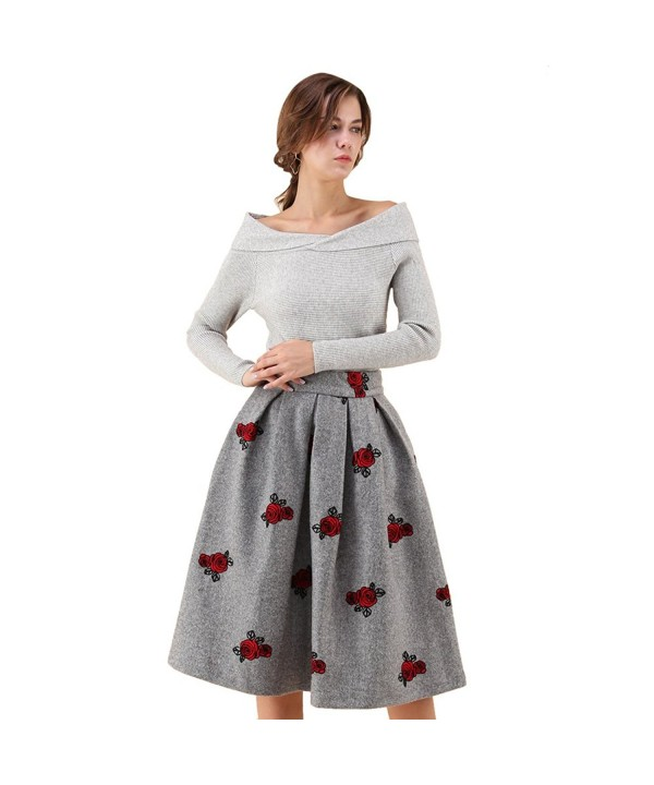 Chicwish Blossom Embroidered Pleated Wool blend