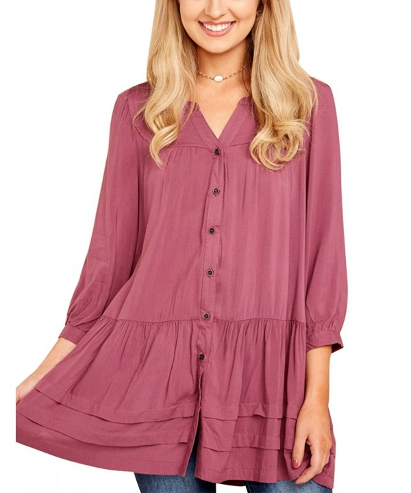 8b78f82018c42e Women's Casual Ruffled Tunic Top Shirt 3/4 Sleeves Loose Button ...