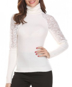 Easther Womenss Patehwork Turtleneck Knitted