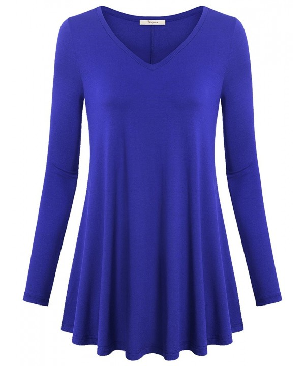 acd385ea3e9 ... Women s V Neck Long Sleeve Flared Shirt Casual Loose Fit Tunic Tops -  Royal Blue - CE12NV18EPE. On sale! New. Bebonnie Shirt Tunic Sleeve Casual