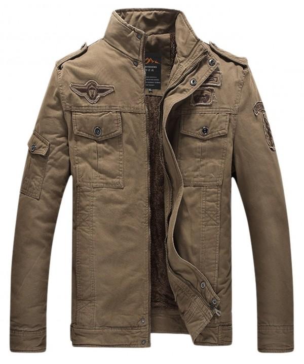Chouyatou Fashion Military Zip Front Insulated