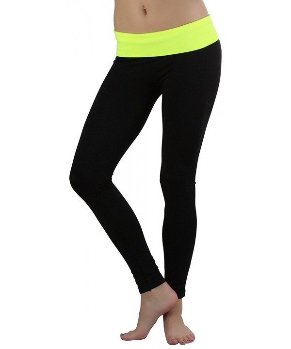 ToBeInStyle Athletic Leggings Fold Over Waistband