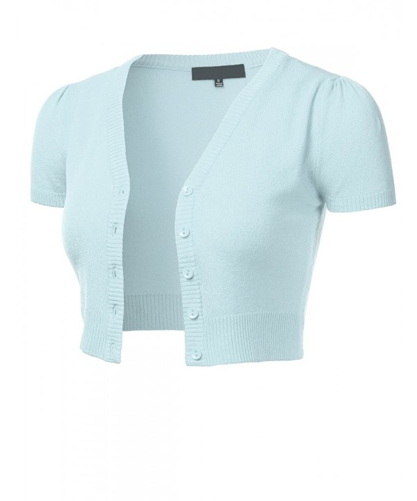 FLORIA Cropped Cardigan Sweater LightBlue