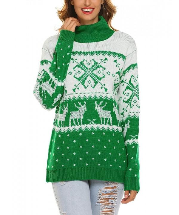 SummerRio Christmas Reindeer Snowflakes Turtleneck