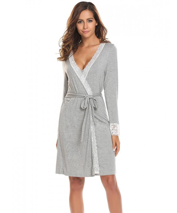 Ekouaer Bathrobes Lace Trimmed Sleepwear Loungewear