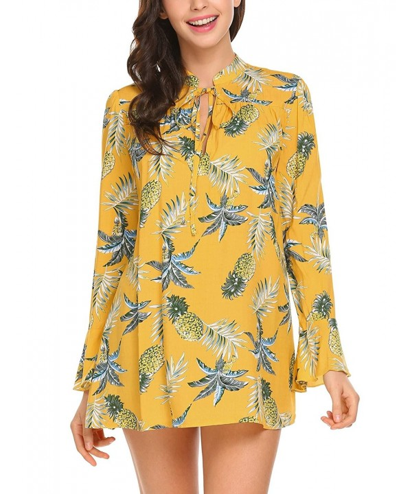 ELOVER Womens Sleeve Casual Yellow L