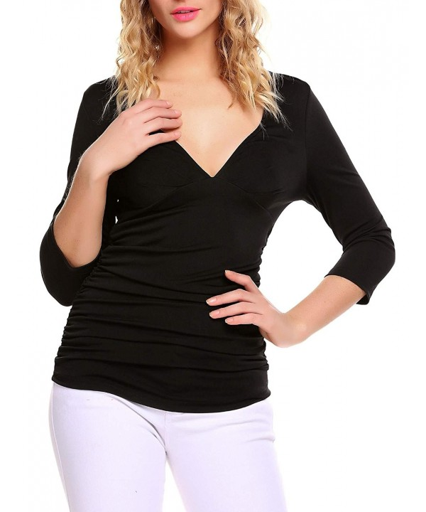 Mofavor Womens Ruched Sleeve Double