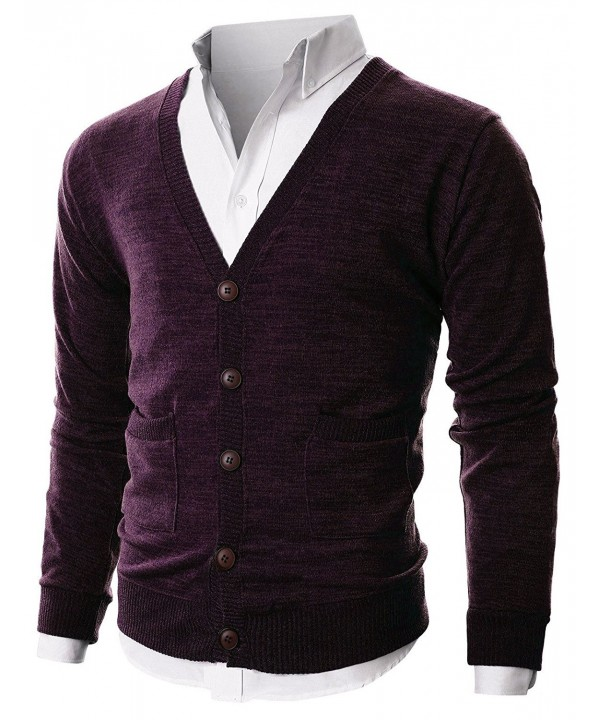 Ohoo Ribbed Cardigan Pockets DCC023 PURPLE M